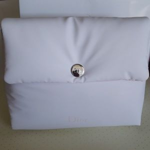 New in box Dior XL plush white & pink mkup bag